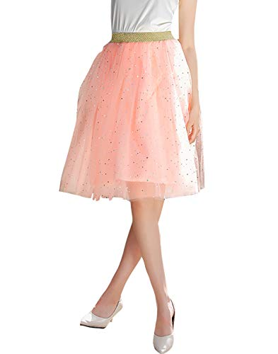 FEOYA – Tüllrock für Damen, Tutu, Plissee, mehrlagig, Tanz, Abend, Ball, Party, Einheitsgröße Gr. One size, Stil: 1 Rosa.