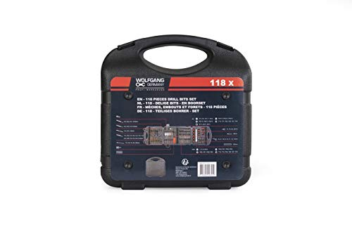 WOLFGANG Boorset 118 Stuks, HSS Boorbits voor metselwerk, Power Drill & Schroevendraaier, Bit Set Toebehoren, Boorbits voor Staal, Hout & Beton,Opvouwbare koffer