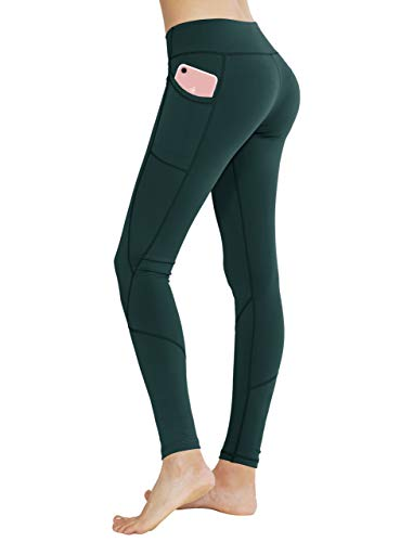 Keolorn High Waist Yoga Pants with Pockets Tummy Control Workout Leggings for Women 4 Way Stretch Leggings with Pockets(Green,Medium)