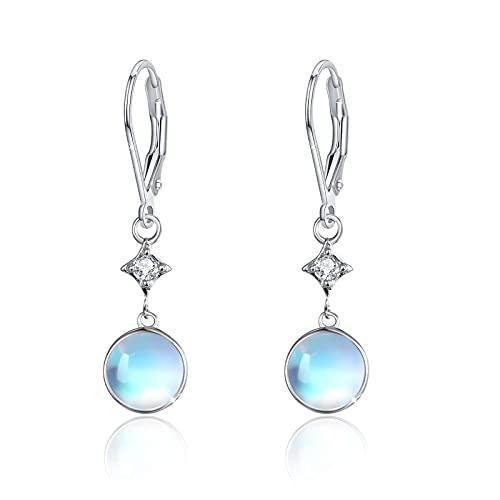 Moonstone Earrings for Women 925 Sterling Silver Moonstone Leverback Drop Earrings Rainbow Moonstone Jewellery Dangle Hoop Earrings for Women Girls