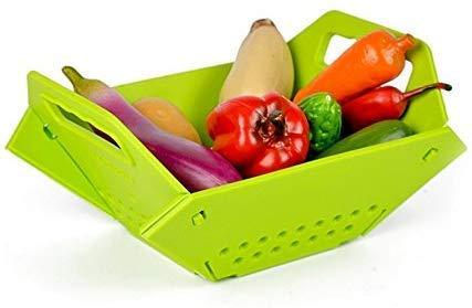 Shreeji 3 in 1 Plastic Folding Chopping Board with Wash Fruit Basket (Multi Color)