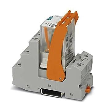 PHOENIX CONTACT RIF-3-RSC-LDP-24DC/3X21 - Módulo de relé premontado con conexión roscada, zócalo de relé, relé de potencia y soporte de retención, 3 cambios, voltaje de entrada de 24 V CC, 5 unidades