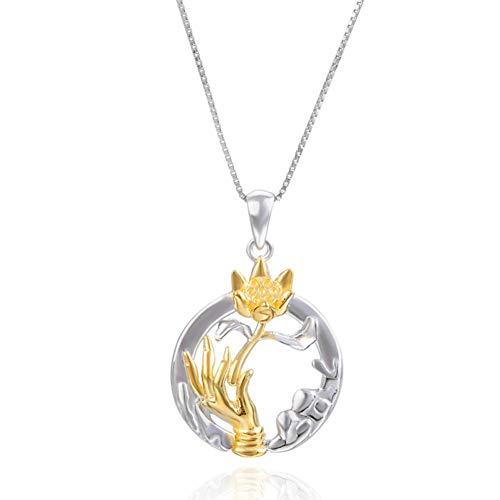 Likass Ms. 925 Sterling Silver Necklace Silver Pendant, La Mejor Opción para El Día De San Valentín, Regalo De Año Nuevo, Recuerdo De Aniversario,Símbolo De Amor-Loto Bergamota