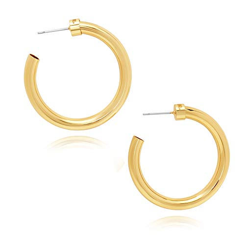 14k Plated Gold Hoops | Lightweight Thick Hoop | Chunky Gold Hoop Earrings for Women (1.5)