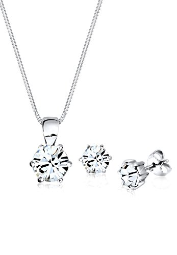 Elli Schmuckset Damen Basic mit Kristalle in 925 Sterling Silber