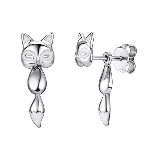 Pendientes infantiles zorro para mujeres aretes hipoalergénicos de plata de ley Mujer accesorios para oídos joyerías de moda