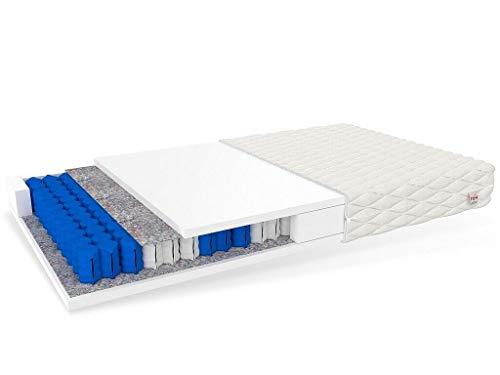 FDM Treviso Taschenfederkernmatratze Matratze 7 Zonen Polyurethanschaum Härtegrad H3 (mittelhart) Höhe 17 cm Zweiseitig Abnehmbarer Bezug waschbar (90 x 200 cm)