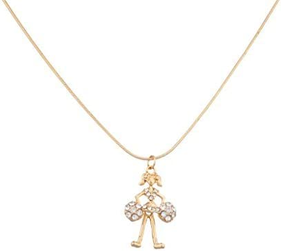 LUX ACCESSORIES Cheerleader Pom Pom Cheer Pave Pendant Necklace