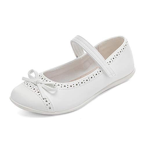 DREAM PAIRS Scarpe da Ballerina per Ragazze Bow Mary Jane Flats Bianco Taglia 8 US Bambino/25 EU Elisa-2
