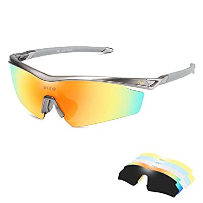 DUCO Polarized Sports Sunglasses with 5 Interchangeable Lenses for Men Women Cycling Running Driving Fishing Glasses 0022 (Gunmetal)