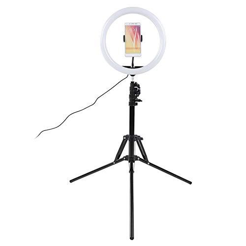 awstroe Ringlicht, 12-Zoll-Ringlichtset 160 cm Faltlampenhalter 3000-6800k Einstellbare Zweifarbige Temperatur mit Kugelkopf-Telefonclip für Make-up/Live-Übertragung/Videoproduktion