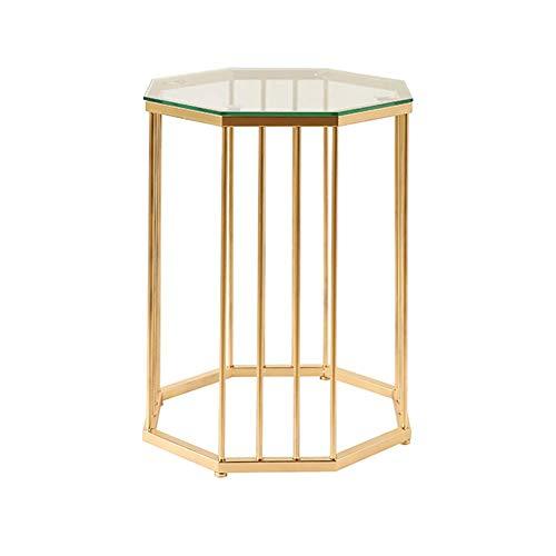 LXDDP Goldener runder Tisch Glas Couchtisch Sofa Stand Moderner kreativer schmiedeeiserner Beistelltisch für Wohnzimmermöbel Clea