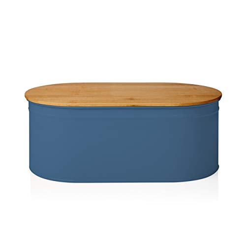 Lumaland Cuisine Bread Bin with Bamboo Lid - Blue