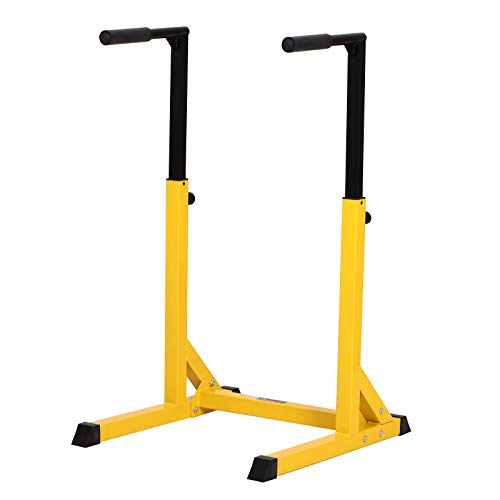 HOMCOM Dip Station Chin Up Parallel Bars Pull Up Power Tower Home Gym Workout Bicep Tricep Fitness Equipment Height Adjustable