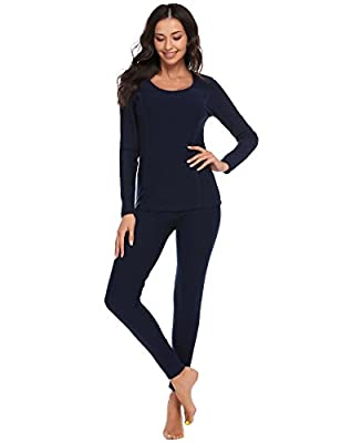 Ekouaer Women's Long Thermal Underwear Fleece Lined Winter Base Layering Set (Medium, Navy Blue)