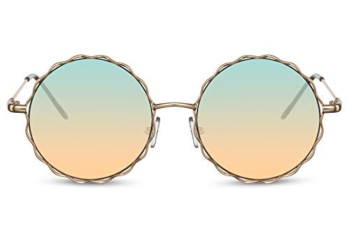 Cheapass Lunettes de soleil Sunglasses Rondes Dorées en Méta