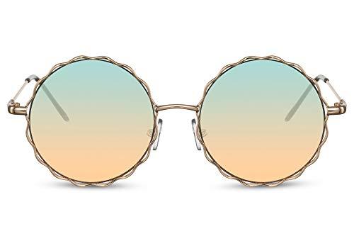 Cheapass Occhiali da Sole Sunglasses Rotondi Metallici in Oro Hippie Occhiali da Festival con Lenti Traslucenti Gradienti da Vere ad Arancione da Donna
