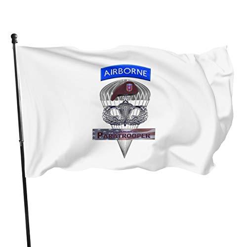 N/D Senior Stahl-Sprungflügel mit Airborne Tab Barett Flagge Banner 7,6 x 12,7 cm