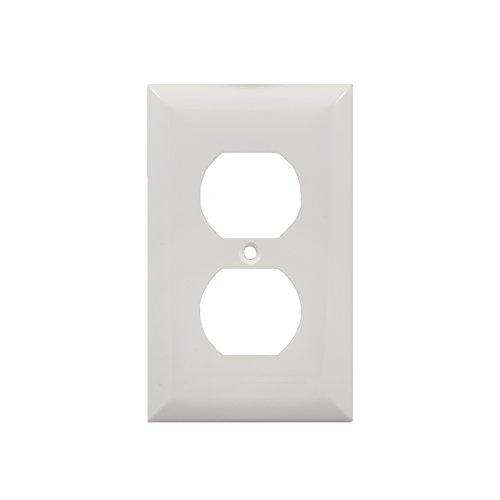 Power Gear Duplex Receptacle Wallplate, White, Unbreakable Nylon, Screw Included, UL Listed, 58832