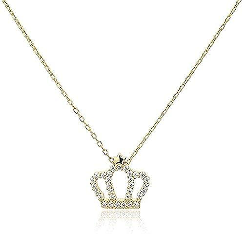 NC190 Collar Colgante joyería de Plata esterlina Corona Femenina nicho Cadena de clavícula Accesorios de Hadas de Aire Simple para Enviar Collar Novia Regalo de cumpleaños