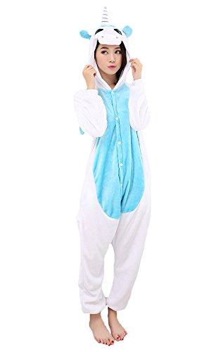 Einhorn Pyjamas Jumpsuit Kostüm Tier Schlafanzug Cosplay Karneval Fasching (Einhorn), Blau, Gr. M: für Höhe 158-167
