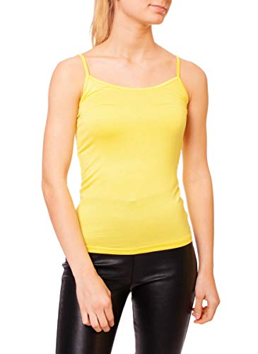 Easy Young Fashion Damen Spaghetti Top Unterhemd mit Spaghettiträger Unterziehtop Skinny Fit One Size Gelb