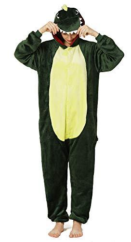 Yimidear® Unisex Cálido Pijamas para Adultos Cosplay Animales de Vestuario Ropa de Dormir Halloween y Navidad(XL, Dinosaurio)
