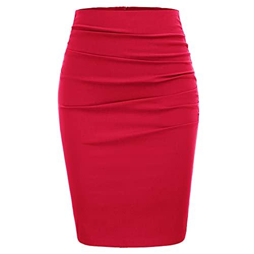 N\P Falda de lápiz para mujer Vintage Color puro Caderas Envuelto Oficina Trabajo Casual, rosso, 48