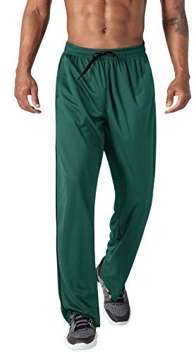 HOPATISEN Pantalones deportivos para hombre, pantalones de malla casual, transpirables, de secado rápido, con bolsillos con cremallera