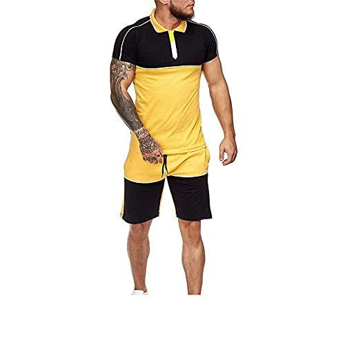 Zytyeu Shirt Hombre Tapeta con Botones De Cuello Redondo Empalme Cordones Básicos Hombres Conjunto Contraste De Color Hombres Shirts Pantalones Cortos Playa Hombre Conjunto Deporte