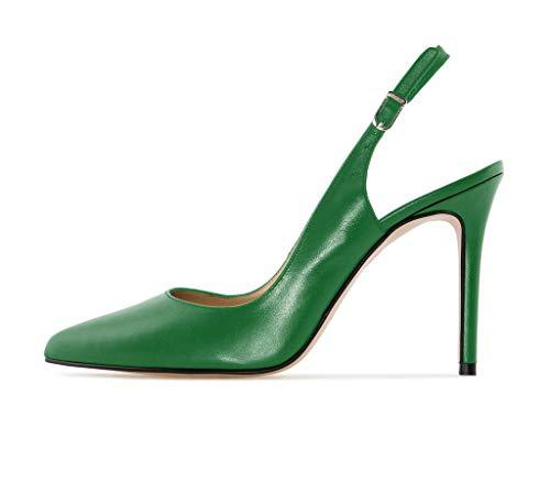Soireelady Damen Pointed Toe Klassische Slingback Pumps Stiletto Schuhe Grun 42