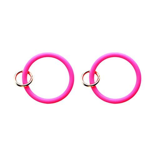 HEALLILY 2 Stück Silikon Schlüsselbund Ring Armreif Schlüsselring Kette Armband Runde Silikon Schlüsselbund Halter für Frauen Mädchen