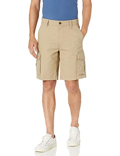 Amazon Essentials Men's Lightweight Ripstop Stretch Cargo Short, Khaki, 36