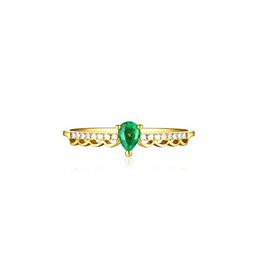 Aeici Anillos De Mujer Oro amarillo 18k, Anillo Dorado Esmeralda Diamante 0.39ct, Talla 12