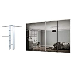 Fit openings of H2260 x W2390mm Includes 4x610mm doors and a 2692mm top and bottom track set Made in the UK, Safety backed glass BSEN12600 Requires self assembly Contains 1 Basix Interior