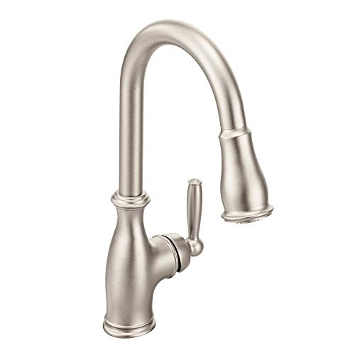 Moen 7185SRS Brantford One-Handle Pulldown Kitchen Faucet Featuring Power Boost and Reflex, Spot...