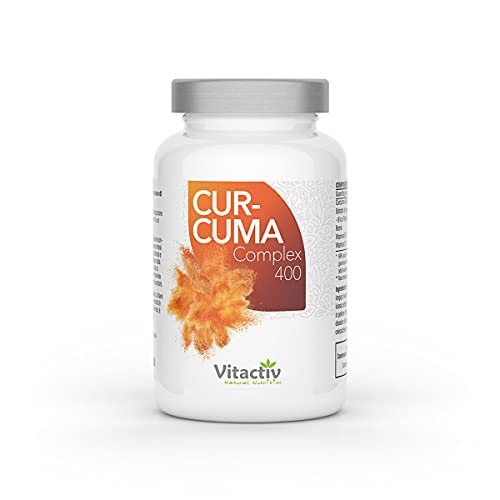 CURCUMA Complex 400, alta dose di Curcuma più vitamine e rame, alta biodisponibilità, per il sistema immunitario, la circolazione sanguigna e il metabolismo energetico (60 capsule)