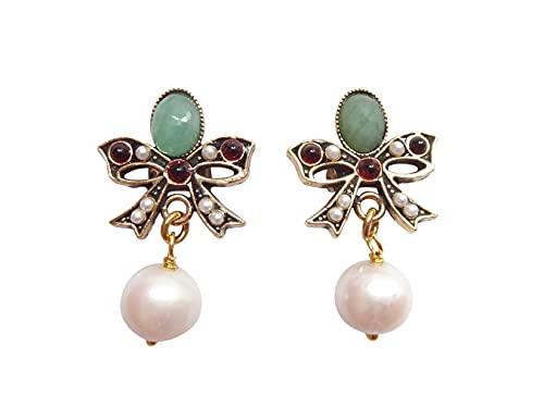 Stilvolle Schleifen-Ohrclips Clips Smaragd-Stein grün rote kleine Granat-Steine Süßwasser-Perlen weiß Hänger vergoldet Handarbeit Italien Unikat Vintage