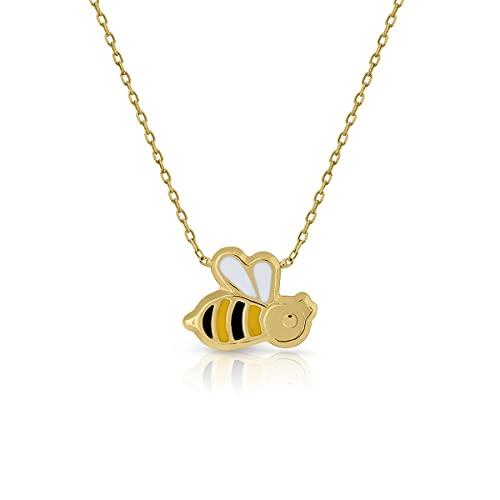Gargantilla Collar Oro de Ley ABEJA ESMALTE. Niña/Mujer. Medida de la cadena 40-45 cm. Medida 7x9.5 mm. (4-5439)