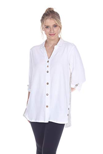 Neon Buddha Button Down/Boat Neck Shirts for Women Comfortable Breathable Cotton Shirts for Women