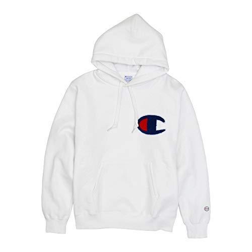 [チャンピオン] パーカー スウェット 裏起毛 ストリート ビッグCロゴ刺繍 サガラワッペン フーデッドスウェットシャツ C3-E127 メンズ ホワイト M