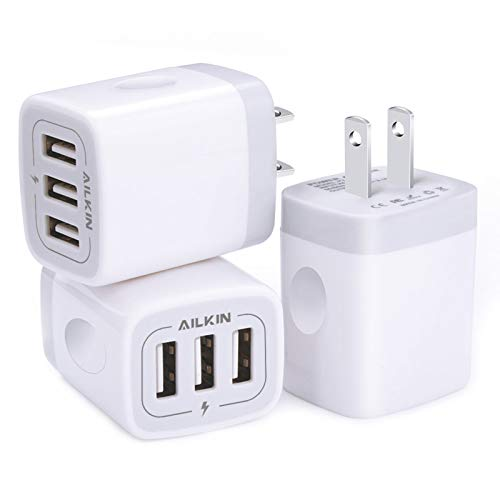 Wall Charger, USB Charger Adapter, Ailkin 3.1A/3Pack Muti Port Fast Charging Station Power Charge Base Block Plug for iPhone SE/11Pro Max/X/8/7 Plus, Samsung S10/S9/S8/S7, Kindle Fire USB Plug