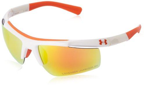 Under Armour Core Sunglasses Rectangular, Shiny White & Orange, 62 mm