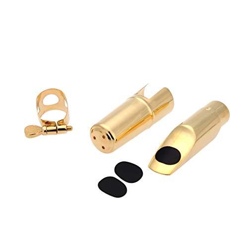 Jazz Sopran-Saxophon-Saxophon-5C Mundstück aus Metall mit Mundstück Patches Pads Kissen Cap Buckle Gold Plating für Gitarren Holzblasinstrument Zubehör Saxophone