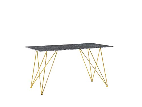 Tavolo con Piano Effetto Marmo Nero in Vetro Gambe Oro 140 x 80 cm Kenton