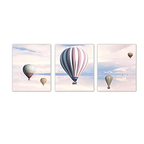 DJFBH-Cuadros decoracion salon modernos 3 piezas 30x50cm sin marco globo de aire...