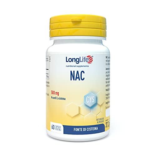Longlife NAC, Fonte dell'aminoacido solforato L-cisteina e precursore del glutatione, Vie Respiratorie, 60 capsule di origine vegetale.