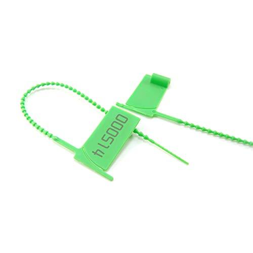 100 etichette di sicurezza numerate a prova di manomissione, in plastica usa e getta, autobloccanti per estintore, sacchetti (verde)