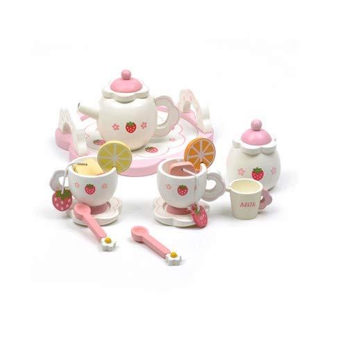 PETRLOY Juego de simulación para la fiesta del té Juguetes para niños pequeños Niños Niñas, Juego de roles para niños grandes Juego de cocina de juguete de madera, Juego de rol Fiesta del té con taza,