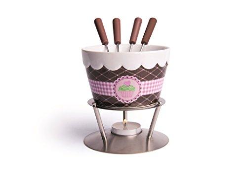 Excelsa Fondant Servizio Fonduta Cioccolato 7Pz, Ceramica, Crema/Marrone, 13x13x14 cm, 7 unità
